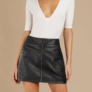 Free People 4 Vegan Leather High Waist Mini Skirt